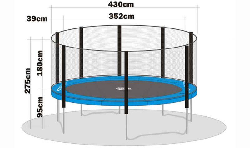 trampolin sicherheitsnetz megaair 430 ohne stangen. Black Bedroom Furniture Sets. Home Design Ideas