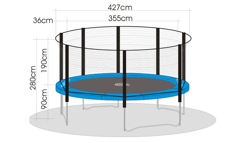trampolin superair 430 mit sicherheitsnetz und leiter. Black Bedroom Furniture Sets. Home Design Ideas